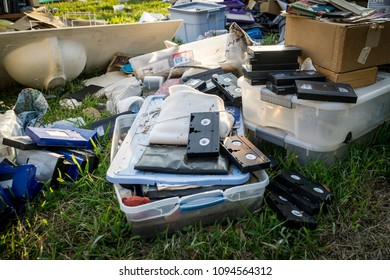 DICKINSON, TX SEPTMBER 1th 2017: Aftermath of Hurricane Harvey. Debris and personal belongings scattered in the streets of Dickinson Texas days after Hurricane Harvey made landfall in the Houston gulf