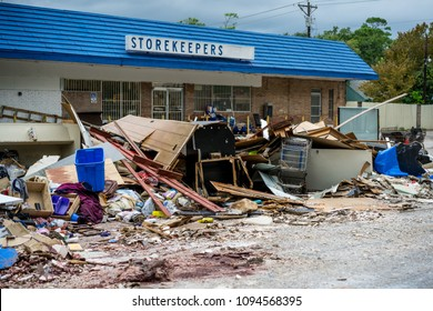 DICKINSON, TX SEPTMBER 5th 2017: Aftermath of Hurricane Harvey. Debris and personal belongings scattered in the streets of Dickinson Texas days after Hurricane Harvey made landfall in the Houston gulf