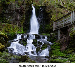 Dickson Waterfalls in New Brunswick on a spring day on East Coast of Canada