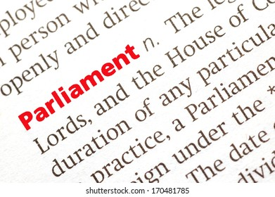 Dictionary definition of parliament. Close up view