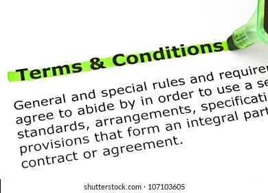 Dictionary definition of Terms and Conditions, highlighted with green marker.