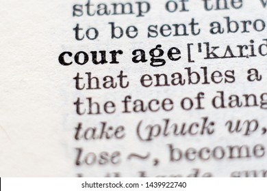 Dictionary definition of word courage, selective focus.