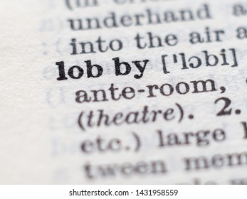 Dictionary definition of word lobby, selective focus.