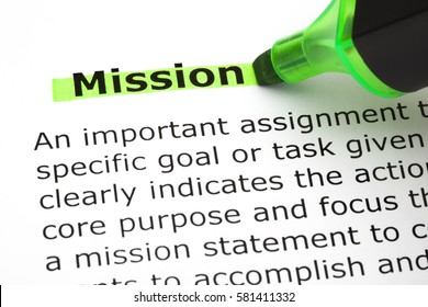 Dictionary definition of the word Mission highlighted with green marker pen.