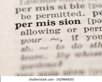 Dictionary definition of word permission, selective focus.