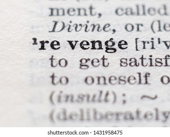 Dictionary definition of word revenge, selective focus.