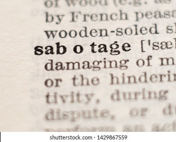 Dictionary definition of word sabotage, selective focus.