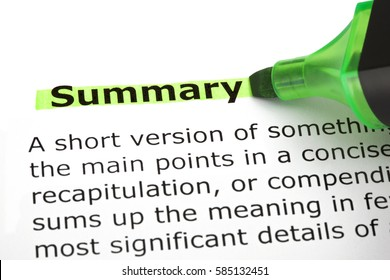 Dictionary definition of the word Summary highlighted with green marker pen.