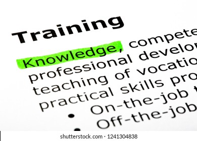 Dictionary definition of the word Training, Knowledge highlighted with green marker in the text below.