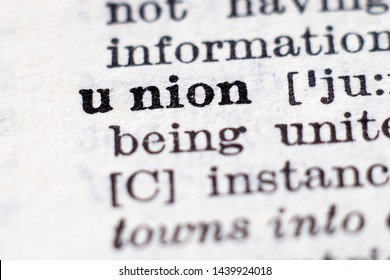 Dictionary definition of word Union, selective focus.