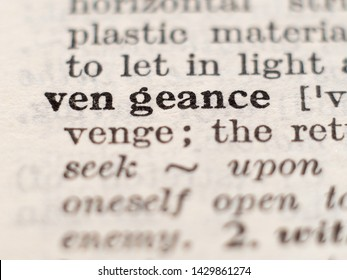 Dictionary definition of word vengeance, selective focus.