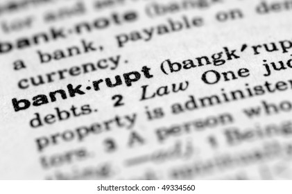 Dictionary entry for bankrupt