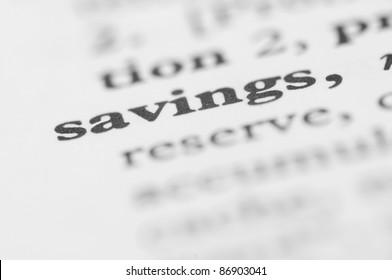 Dictionary Series - Savings