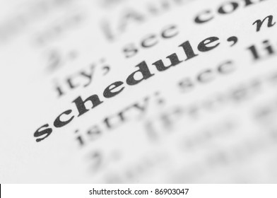 Dictionary Series - Schedule