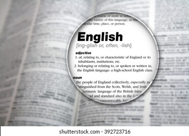 Dictionary showing the word 'English'.