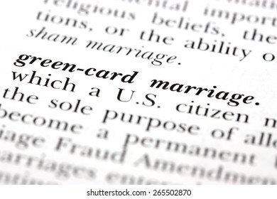 Dictionary word Green-card marriage
