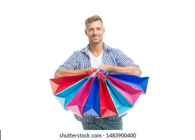 Did not resist temptation. Total sale. Positive man enjoying shopping. Happy man with shopping bags isolated white. Excited guy doing shopping. Shopping happiness. Nice purchase. Gifts for holidays.