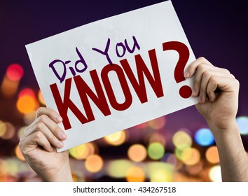Did You Know? placard with night lights on background