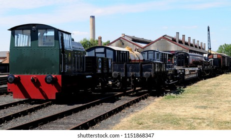 Didcot, Oxfordshire / UK - 08/05/2018: 1957 Hunslet 0-6-0 diesel shunter DL 26 'The Rat' at Didcot Railway Centre.