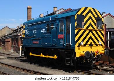 Didcot, Oxfordshire / UK - 08/05/2018: 1959 British Rail Class 08 diesel-electric shunter 08604 'Phantom' at Didcot Railway Centre.