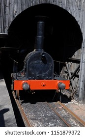 Didcot, Oxfordshire / UK - 08/05/2018: Reproduction of 1847 Great Western Railway Iron Duke class 4-2-2 steam locomotive 'Iron Duke' in Transfer Shed at Didcot Railway Centre.