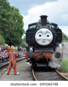 DIDCOT, OXFORDSHIRE, UK - OCTOBER 5, 2013. Thomas the Tank Engine is a live steam engine character, based on books by the Reverend Wilbert Awdry, running at Didcot Railway Centre, Oxfordshire, UK.