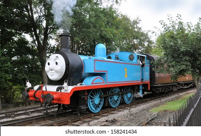 DIDCOT, UK - OCTOBER 5. Thomas the Tank Engine is a live steam engine, based on children's books by the Reverend Wilbert Awdry, running on October 5, 2013 at Didcot Railway Centre, Oxfordshire, UK.