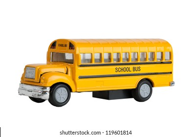 Die Cast Model Toy Of A North American And Canadian Yellow School Bus, Focus Stacked. So Whole Image Is In Focus