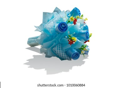 die cut of blue bouquet with shadow on the floor. bouquet is popular gift, It popular to give to someone you love in valentine's day.