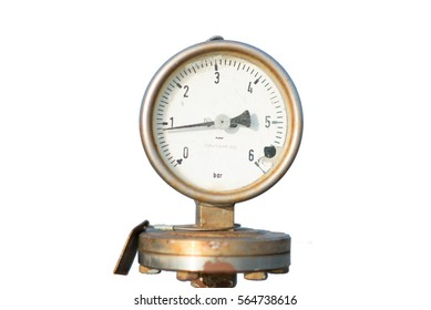 die cut of oil pressure gauge range 6 bar with rust