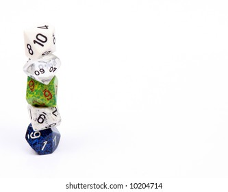 Die, or dice commonly used in board and role-playing games. Shown here are ten sided dice, or d10.