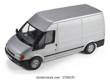 Die-cast toy model of a commercial van isolated on white background with shadow. Useful for mocking up vehicle graphics onto, adding a company logo on the side, etc. [Clipping Path included]