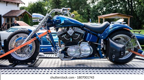 """DIEDERSDORF, GERMANY - AUGUST 30, 2020: The custom Lobo Bikes, based on Indian Motorcycle, 2005. The exhibition of """"US Car Classics""""."""