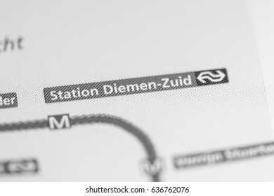 Diemen-Zuid Station. Amsterdam Metro map.