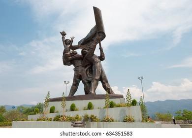 Dien Bien Phu, Vietnam - Mar 18 2017: The battle of Dien Bien Phu victory statue at D1 Hill. a famous Historical site of the battle of Dien Bien Phu in Dien Bien Phu, Vietnam.