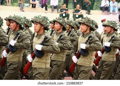 Dien Bien Phu, Dien Bien, VIETNAM May 7, 2014: The 60th anniversary of the Dien Bien Phu victory: Vietnam military parade celebrating the 60th victory of Dien Bien Phu