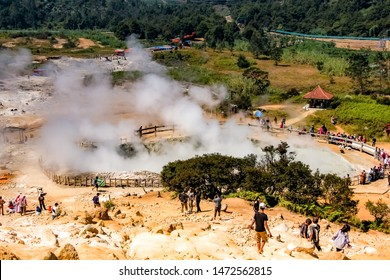 Dieng, Central Java/Indonesia - July 1st 2019: Sikidang Crater at Dieng Plateau, an Active Volcano Crater