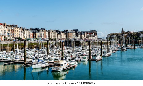 DIEPPE, FRANCE – AUGUST 07, 2019: Marina of Dieppe, a city in Normandy founded in 1030, famous for so called The Dieppe Raid in WWII, an unsuccessful battle of the Allied Forces against Germans.