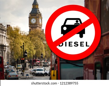 Diesel car Prohibition sign and London street with busy traffic on the background. Symbolizing that petrol and diesel cars are banned from areas in London