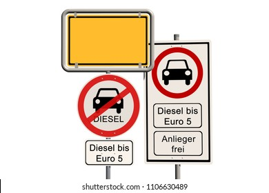 Diesel driving ban - empty german town sign with the additional prohibition sign diesel driving ban up to Euro 5 - open for residents - isolated on white - 3D render
