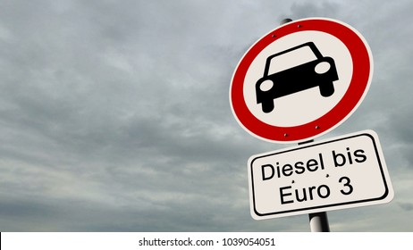 """Diesel driving ban Euro 3 - german road sign with the german text """"Diesel up to Euro 3"""""""