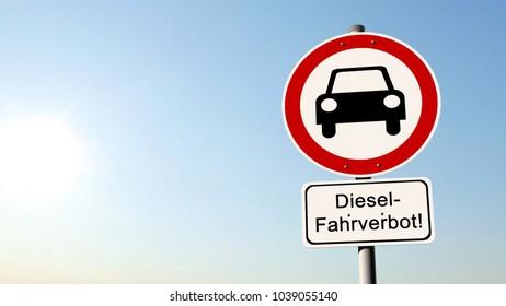 Diesel driving ban - german road sign