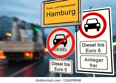 Diesel driving ban in Hamburg - city sign Hamburg with the additional sign diesel driving ban up to Euro 5 - open for residents