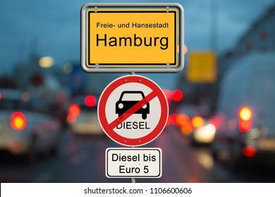 Diesel driving ban in Hamburg - city sign Hamburg with the additional sign diesel driving ban up to Euro 5