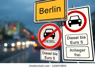Diesel driving ban in Hamburg - city sign Hamburg with the additional prohibition sign diesel driving ban up to Euro 5 - open for residents - 3d render