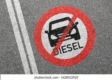 Diesel driving ban sign road street car no not allowed forbidden zone concept