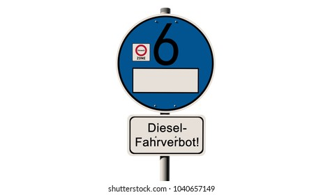 """diesel driving ban Street sign - Euro 6 - emission standard -  with the German text """"diesel driving ban"""" - 3D illustration"""