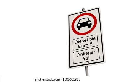 Diesel driving ban  - street sign diesel driving ban up to Euro 5 - isolated on white