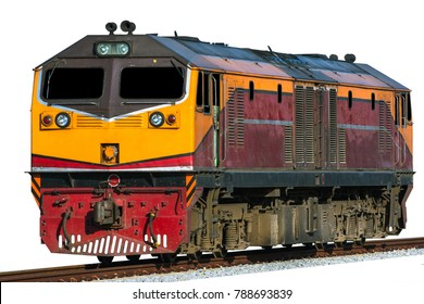 Diesel electric locomotive isolated.