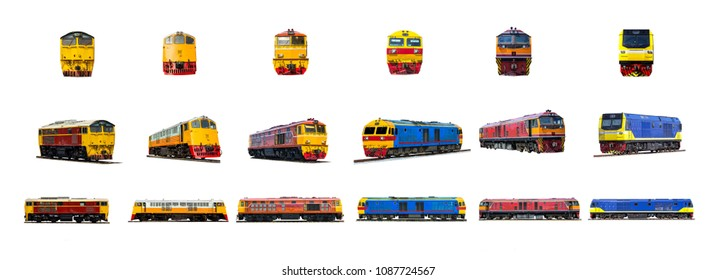 Diesel electric locomotive SET isolated on white background.